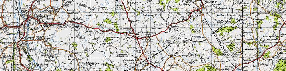 Old map of Woore in 1946