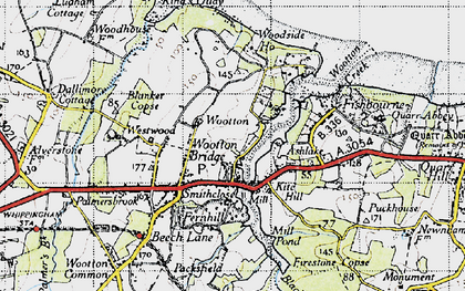 Old map of Wootton in 1945