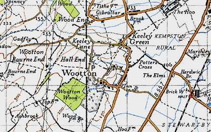 Old map of Wootton in 1946