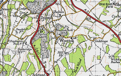 Old map of Wootton in 1947