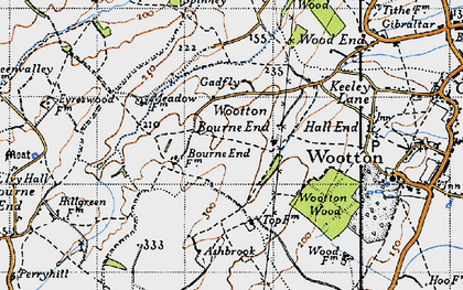 Old map of Wootton Bourne End in 1946
