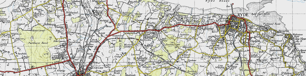 Old map of Wootton Bridge in 1945