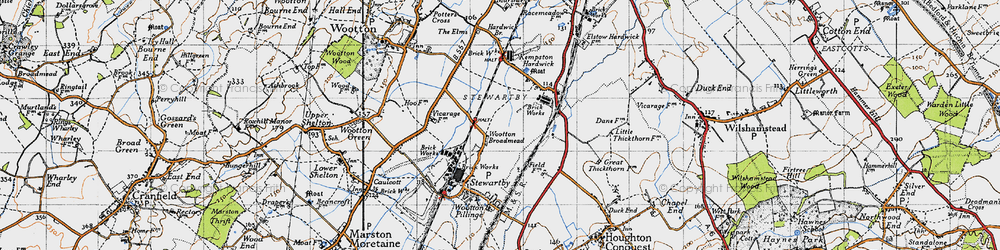 Old map of Wootton Broadmead in 1946