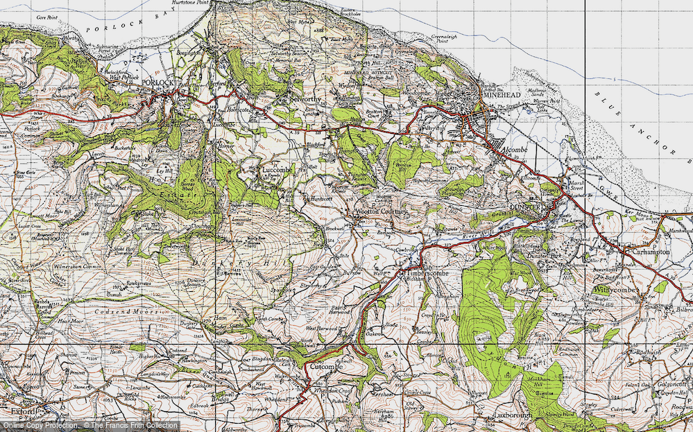 Old Map of Historic Map covering Wootton Common in 1946