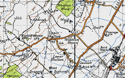 Old map of Wootton Green in 1946