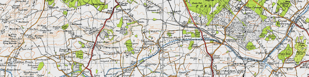 Old map of Wootton Rivers in 1940