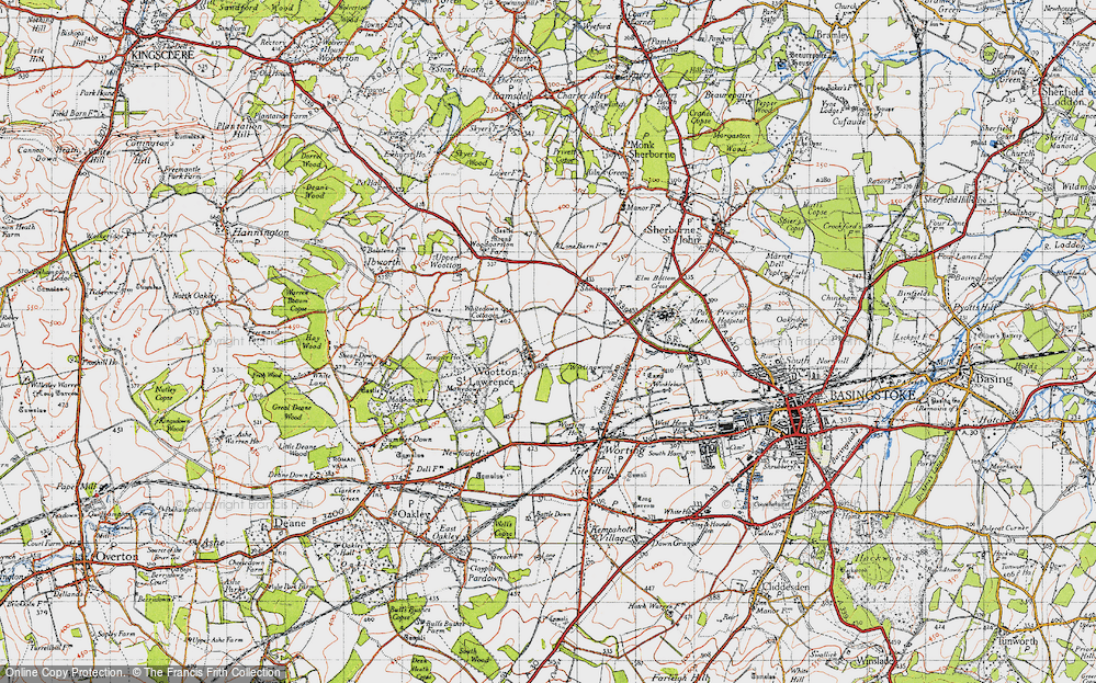 Old Map of Historic Map covering Worting Ho in 1945