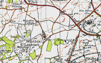Old map of Wootton St Lawrence in 1945