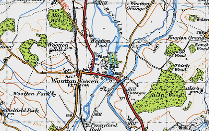 Old map of Wootton Pool in 1947