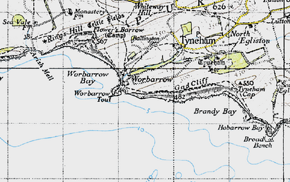 Old map of Worbarrow Bay in 1946