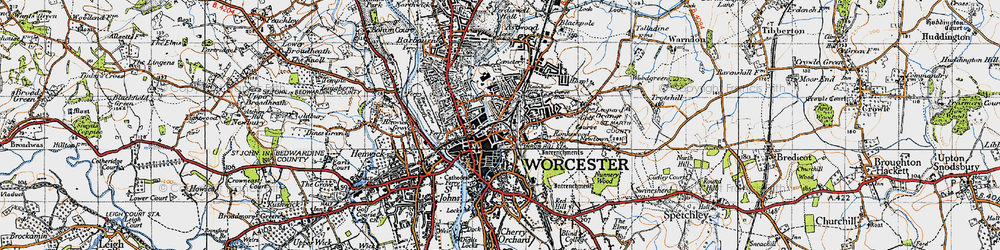 Old map of Worcester in 1947