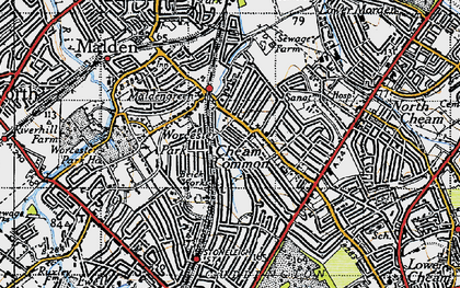 Old map of Worcester Park in 1945