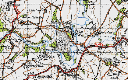 Old map of Worfield in 1946