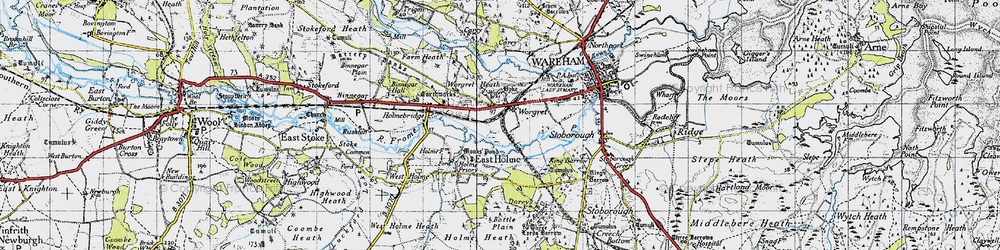 Old map of Worgret in 1940