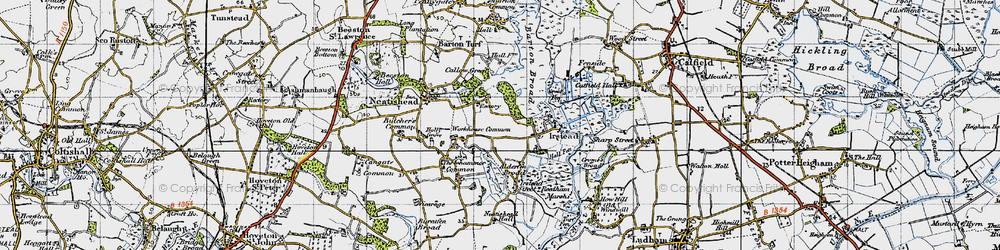 Old map of Workhouse Common in 1945
