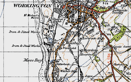 Old map of Workington in 1947