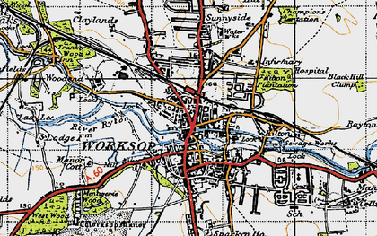 Old map of Worksop in 1947