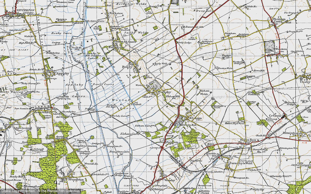 Old Map of Historic Map covering Worlaby Carrs in 1947