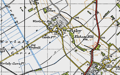 Old map of Worlaby Carrs in 1947