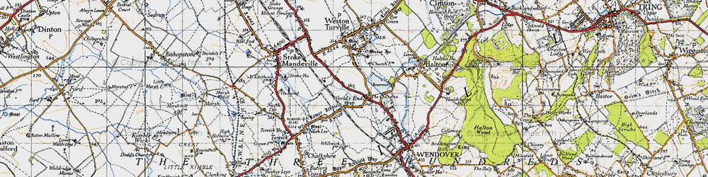 Old map of Weston Turville Resr in 1946