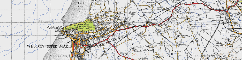 Old map of Worle in 1946