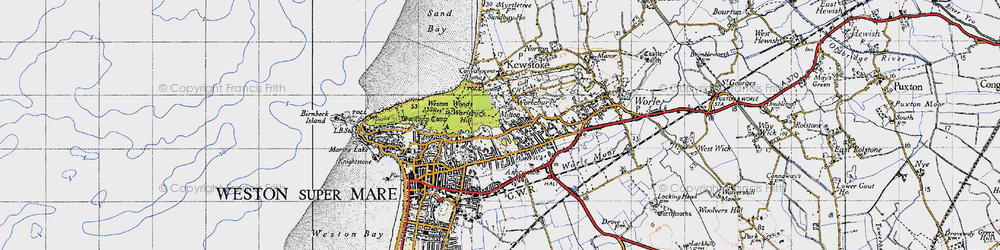 Old map of Worlebury in 1946