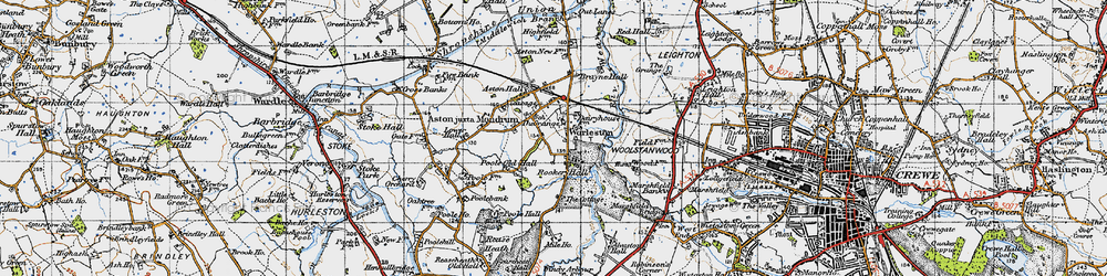 Old map of Worleston in 1947