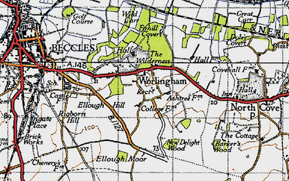 Old map of Worlingham in 1946