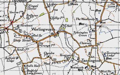 Old map of Worlingworth in 1946