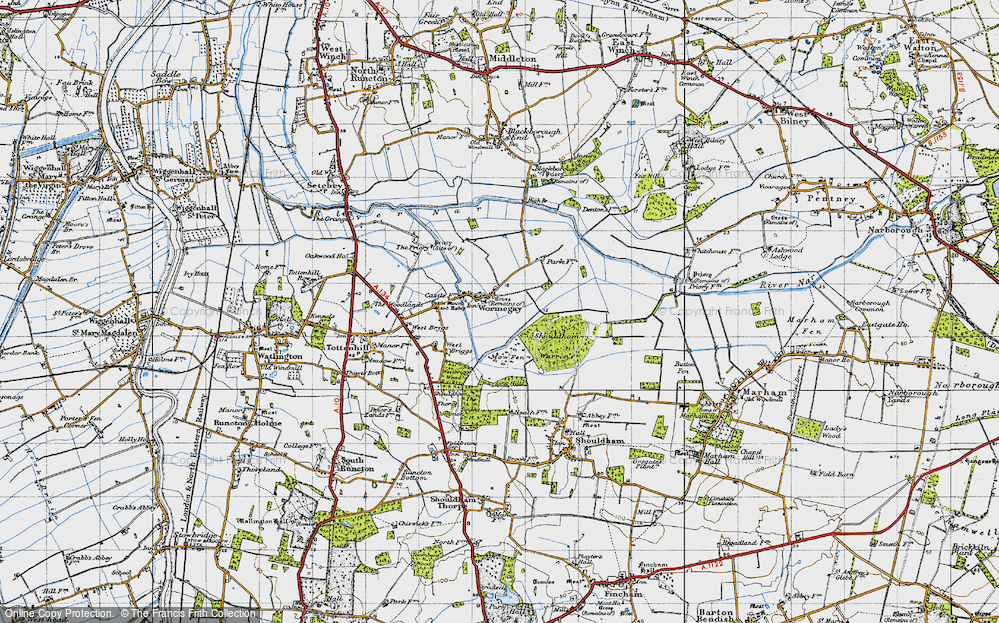 Old Map of Historic Map covering Ling Hills in 1946