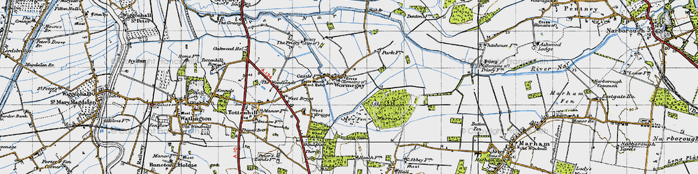 Old map of Wormegay in 1946
