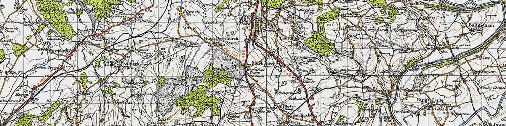 Old map of Wormelow in 1947