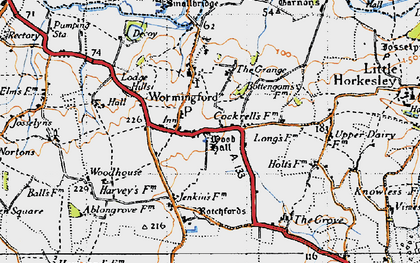 Old map of Wormingford in 1945