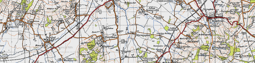 Old map of Wormington in 1946