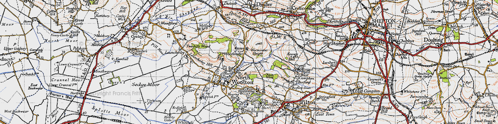 Old map of Worminster in 1946