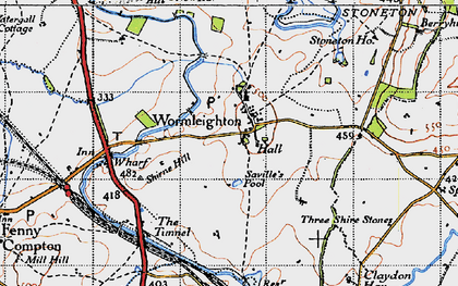 Old map of Wormleighton Village in 1946