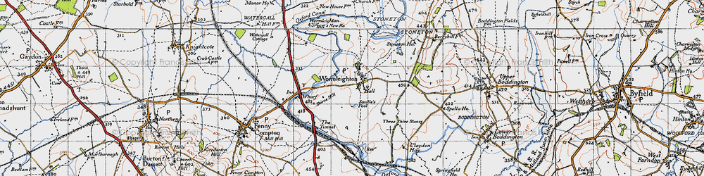 Old map of Wormleighton in 1946
