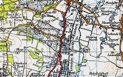 Old map of Baas Hill in 1946