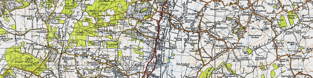 Old map of Wormleybury in 1946