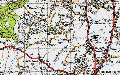 Old map of Worms Ash in 1947