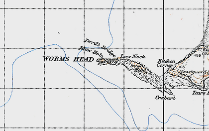 Old map of Worms Head in 1946