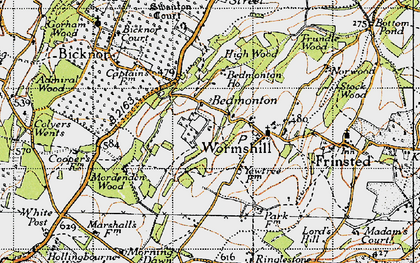 Old map of Wormshill in 1946