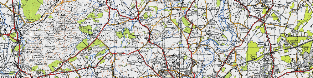 Old map of Worplesdon in 1940