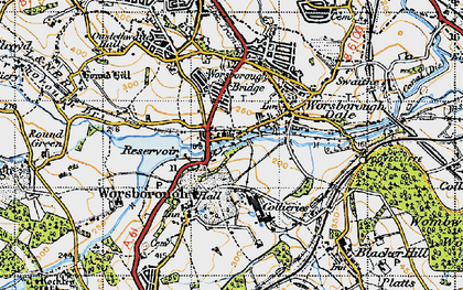 Old map of Worsbrough Bridge in 1947