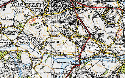 Old map of Worsbrough Common in 1947
