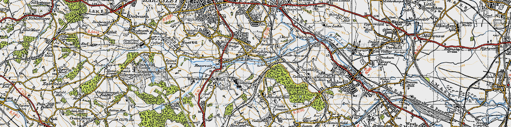 Old map of Worsbrough Dale in 1947