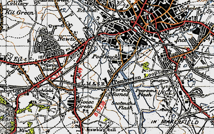 Old map of Worsley Mesnes in 1947