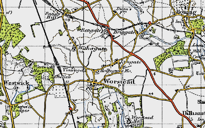 Old map of Worstead in 1945