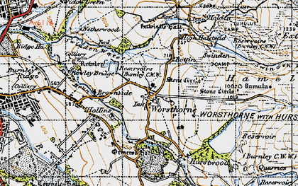 Old map of Worsthorne in 1947