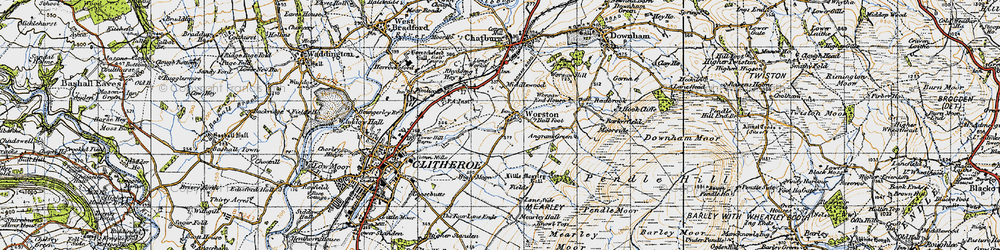 Old map of Worston in 1947